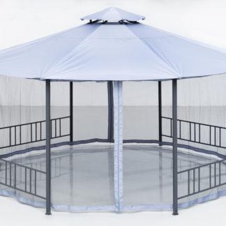 Sateenpitävä 8-kulmainen paviljonki hyttysverkoilla